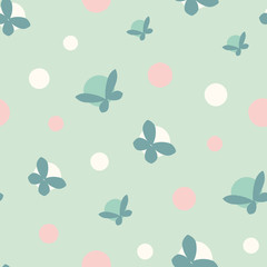 A seamless vector pattern with polka dots and butterflies in pastel teal and pink. Simple romantic surface print design. Great for backgrounds, cards, invitations and wrapping paper.