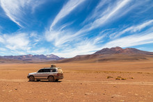 Altiplano,  Bolivia.10-29-2019. Four Wheels Drive Car For The Transportation Of Tourists On The Altiplano In Bolivia.