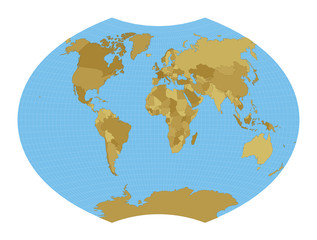 Fototapeta na wymiar World Map. Ginzburg VI projection. Map of the world with meridians on blue background. Vector illustration.