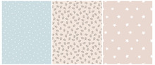 Seamless Irregular Vector Patterns With White Hand Drawn Stars, Dots And Abstract Twigs Isolated On A Blue And Blush Pink Background.Simple Geometric And Floral Prints For Fabric,Cover,Wrapping Paper.
