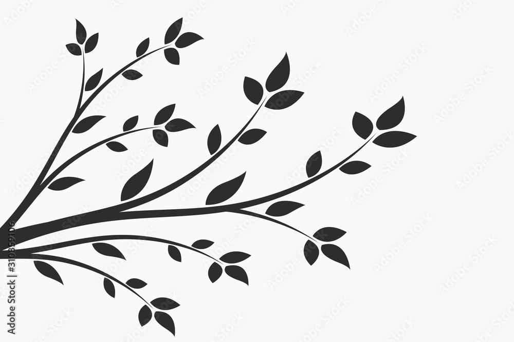 Fototapeta Young flowering tree. Sapling. Silhouette of a branch with leaves.
