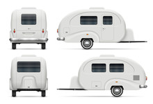 RV Trailer Vector Illustration View From Side, Front, Back