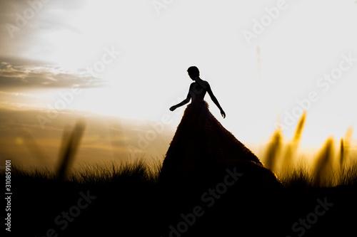 Szerokie ujęcie bajkowej sylwetki księżniczki na tle czystego nieba ze wschodem słońca kobiety w sukience balowej lub ślubnej.