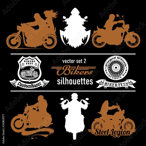 Fotografija biker, motorcycle vector silhouettes - vector set, retro emblem and label