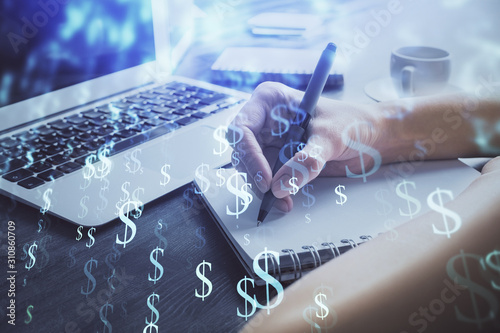 Fototapeta Forex chart displayed on woman's hand taking notes background. Concept of research. Multi exposure obraz