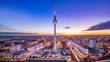 panoramic view at central berlin whil sunset