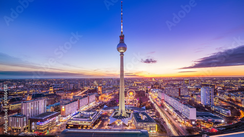 panoramic view at central berlin whil sunset Canvas Print