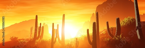 Photo Arezona with cacti at sunset, 3D rendering.