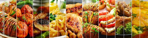 Collage of various food. Appetizing food close-up. Healthy and delicious cooked vegetables. © Anastasiia Sunrise