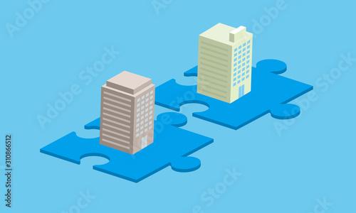 経営統合、オフィスビルとパズルのイメージ Canvas Print