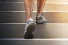 Runner Feet Running On Stairs ...