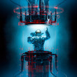 canvas print picture Basic teleportation principles / 3D illustration of astronaut emerging from dark complex futuristic teleport portal machinery