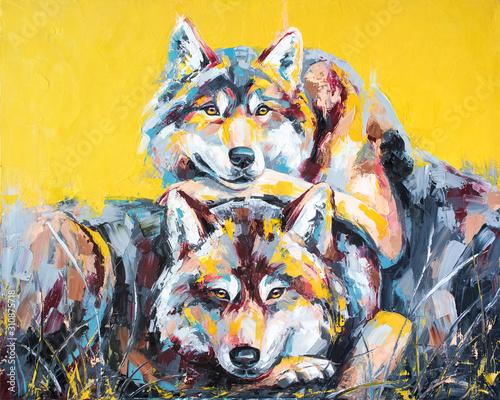 Fotografia Oil wolf portrait painting in multicolored tones