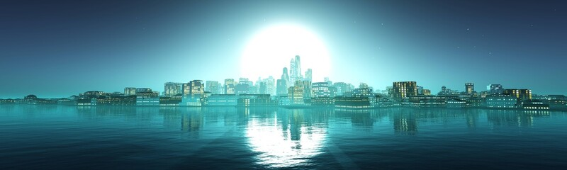 Panorama of the evening city against the backdrop of the huge sun above the water, 3D rendering.