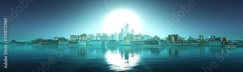 fototapeta na ścianę Panorama of the evening city against the backdrop of the huge sun above the water, 3D rendering.