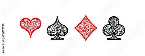 Set of 4 Playing card suits icons decoration pattern diamonds, clovers, hearts, spades template black and red Fototapeta