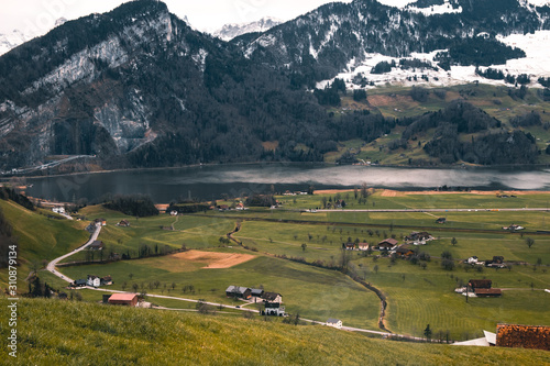 Small Farm Fields In The Mountains, Switzerland. Tablou Canvas