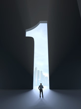 A Person Standing In Front Of An Open Door In Shape Of Number One