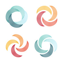 Set Of Spiral And Swirl Logo A...