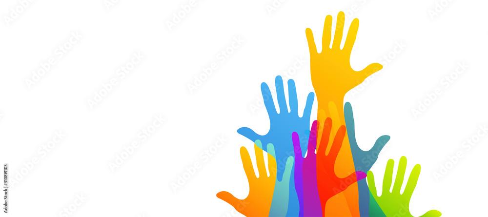 Fototapeta mani, comunità colori, solidarietà