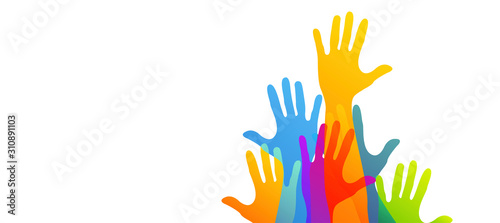 mani, comunità colori, solidarietà Poster Mural XXL