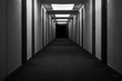 canvas print picture - hotel corridor hallway abandoned creepy black and white