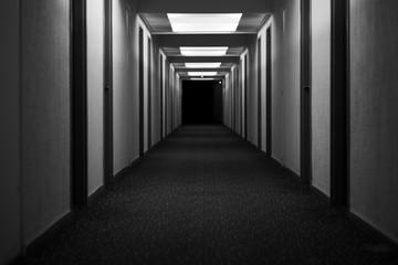 hotel corridor hallway abandoned creepy black and white