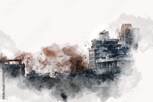 abstract-colorful-offices-building-in-the-city-on-watercolor-painting-background-city-on-digital-illustration-brush-to-art