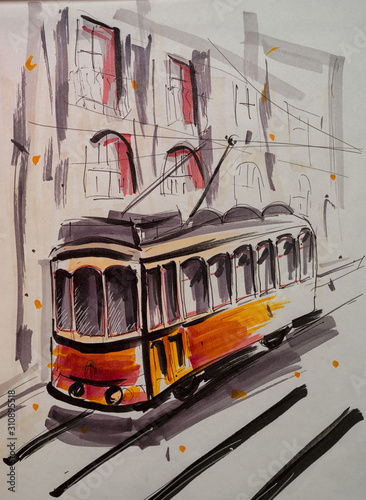 Cuadros en Lienzo  Hand drawn marker sketch of a tram on the street.