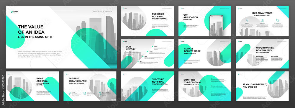 Fototapeta Business presentation templates set. Use for modern presentation background, brochure design, website slider, landing page, annual report, company profile.