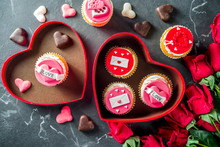 Valentine's Day Greeting Card. Sweet Valentine's Creative Dessert Food. Homemade Pink And Red  Delicious Cupcakes With Decor Of Valentine Day Symbols