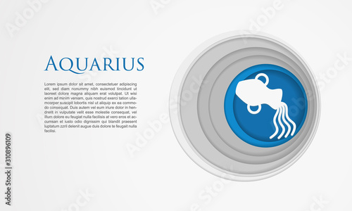 Paper cut Aquarius zodiac sign icon isolated on white background Canvas Print