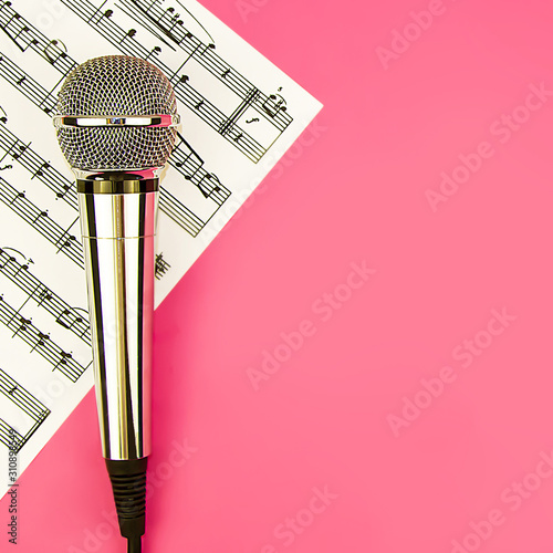 The microphone lies on a pink background Canvas Print