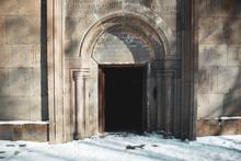 Church Door With Snow In Winter Background