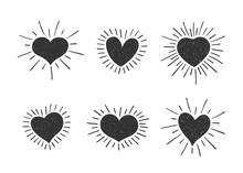 Set Of Doodle Heart Shaped Sym...