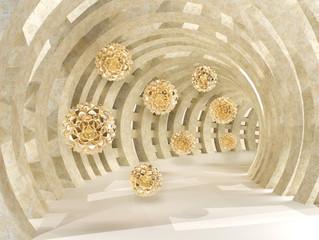 Fototapeta Optyczne powiększenie Tunnel with golden flying balls 3d rendering