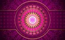 Luxury Pink Background With Mandala Style Shapes A Combination Golden Ornament Decoration. Elegant Vector Design Template For Cover, Banner, Wedding Invitation, Card, Business, Advertising, Wallpaper