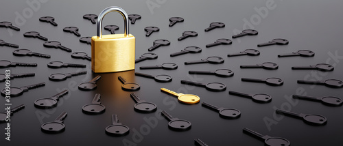 Fototapeta Lock surrounded by black and one golden key - Security concept  obraz