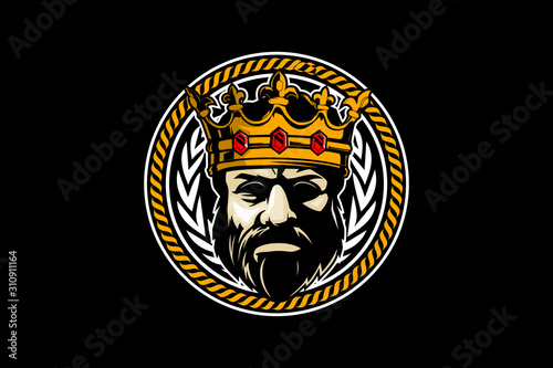 Fotomural king head with crown character vector badge logo template