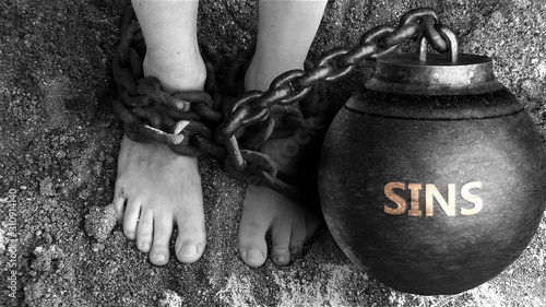 Fotografie, Obraz Sins as a negative aspect of life - symbolized by word Sins and and chains to sh