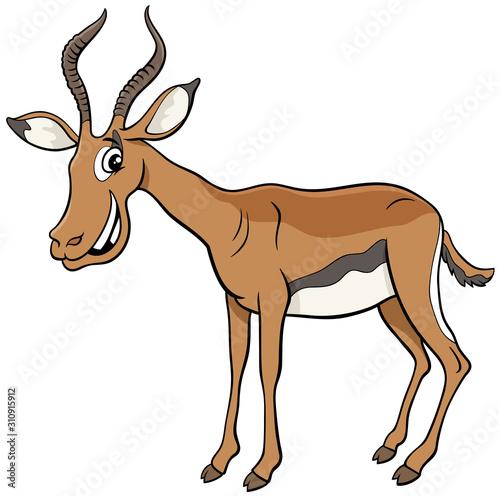 Photo African impala cartoon animal character