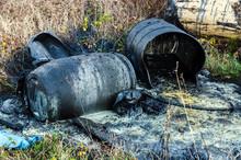 Hazardous Waste. Spillage Of Toxic Waste In Nature