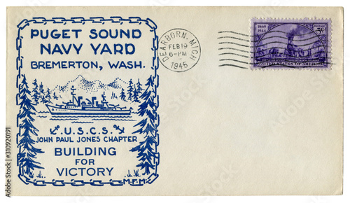 Photo Dearborn, Michigan, The USA - 19 February 1945: US historical envelope: cover with a cachet Puget Sound navy yard, Bremerton, Washington