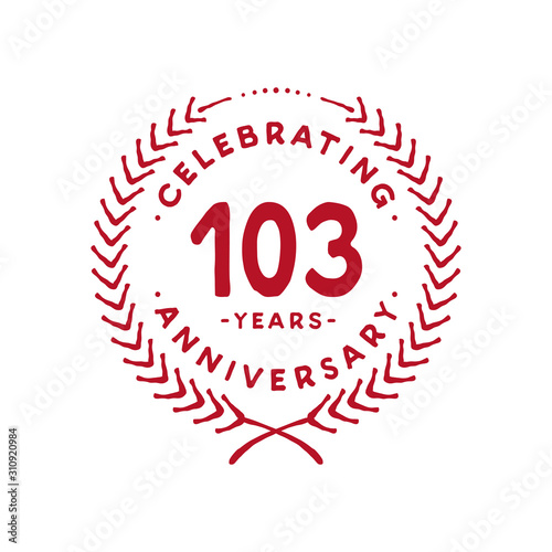 Tela  103 years design template. 103rd logo. Vector and illustration.