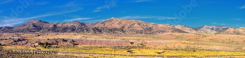 Panorama views of mountains, desert and landscape around Price Canyon Utah from Highway 6 and 191, by the Manti La Sal National Forest in the United States of America. USA.