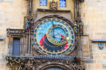 Closeup Prague Astronomical Clock Orloj With Small Figures Located At The Medieval Old Town Hall Building In Old Town Of Prague Historical Center, Czech Republic, Bohemia, Europe