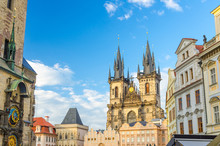 Prague Old Town Square (Stare Mesto) Historical City Centre With Astronomical Clock (Orloj) Of Old Town City Hall, Stone Bell House, Gothic Church Of Our Lady Before Tyn, Bohemia, Czech Republic