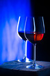 canvas print picture - Two glasses of red wine. Intimate atmosphere. Romance concept