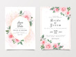 Elegant wedding invitation card template set with gold floral frame and watercolor, glitter. Botanic roses and leaves illustration for background, save the date, invitation, greeting card vector