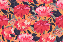 Art Floral Vector Seamless Pattern. Red Asters, Dahlias, Chrysanthemums, Deep Green Branches, Leaves Isolated On Orange Background. Endless Pattern With Flowers For Wallpaper Design, Fabric, Textile.